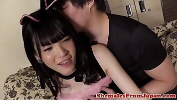 Assfucked ladyboy riding dick reversecowgirl