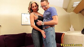 Busty transsexaul cockriding lucky man