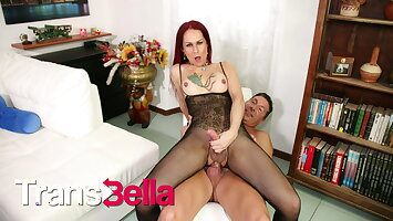 TRANSBELLA - Sexy MILF Shemale Isabella Branco Rides Daddy